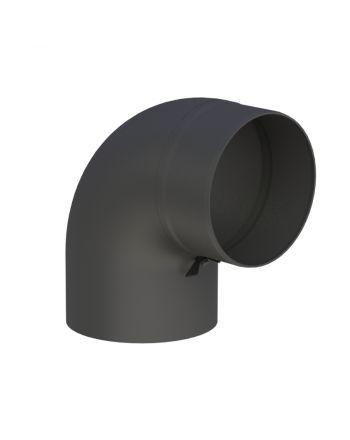 Jeremias Vollformbogenrohr 90° mit Tür | schwarz | Ø150mm