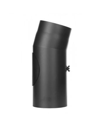 Jeremias Rauchrohr Ofenrohr | Winkel 15° mit Tür | schwarz | Ø wählbar