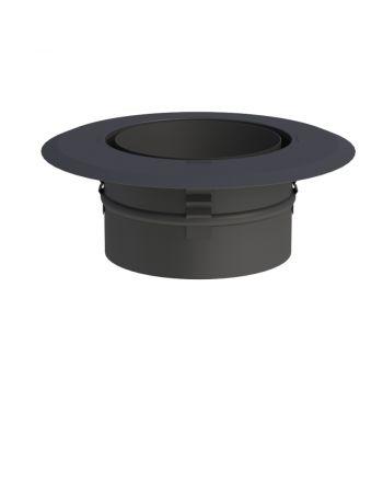Jeremias Wandfutter mit Zentrierfeder und Wandrosette schwarz | Ø120mm