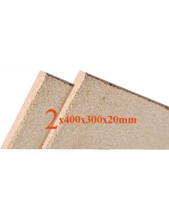 2x Vermiculite Brandschutzplatten | 400x300x20mm | Schamotte-Ersatz