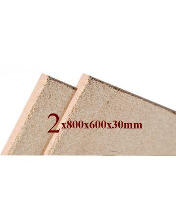 2x Vermiculite Brandschutzplatten | 800x600x30mm | Schamotte-Ersatz