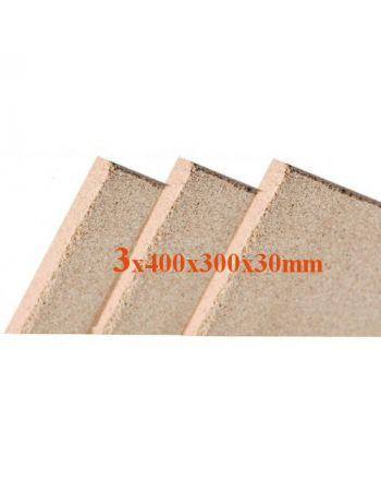 3x Vermiculite Brandschutzplatten 400x300x30mm Schamotte-Ersatz