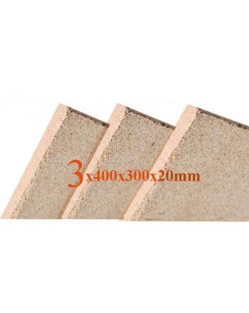 3x Vermiculite Brandschutzplatten | 400x300x20mm | Schamotte-Ersatz