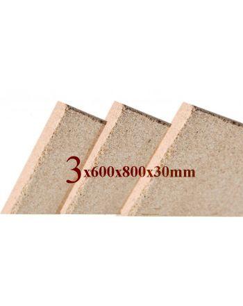 3x Vermiculite Brandschutzplatten | 800x600x30mm | Schamotte-Ersatz