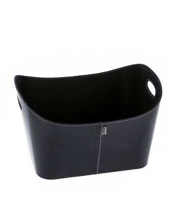 Aduro | Baseline Holzkorb aus Kunstleder | schwarz