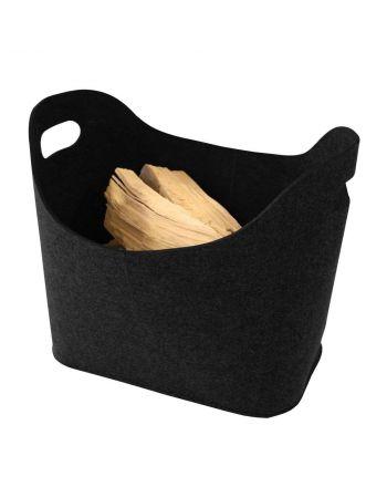 Kamino Trend Kaminholzkorb aus Filz | ovale Form | schwarz