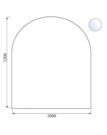 Funkenschutzplatte/Bodenplatte aus Sicherheitsglas halbrund, Facette