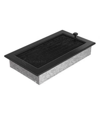 Lüftungsgitter Luftgitter mit Lamellen 17x49 cm, schwarz