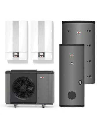 WOLF | Hybridheizung | Gasbrennwert-Heiztherme 24kW + Monoblock-Wärmepumpe 10kW