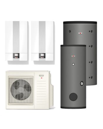 WOLF | Hybridheizung | Gasbrennwert-Heiztherme 24kW + Split-Wärmepumpe 7kW