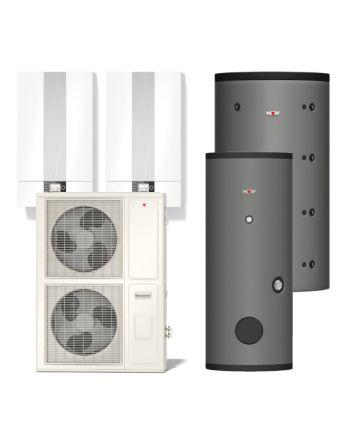 WOLF   Hybridheizung   Gasbrennwert-Heiztherme 14kW + Split-Wärmepumpe 14kW