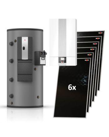 WOLF | Hybridheizung | Gasbrennwert-Heiztherme 24kW + 6 Solarkollektoren