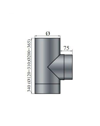 Color-Fire | Ofenrohr | T-Stück mit Deckel | Ø 160 mm | schwarz