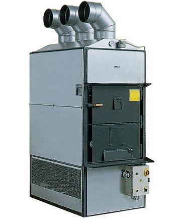 Warmluft Holzheizung Fabbri F120 mit Rauchabsaugaggregat 175 kW