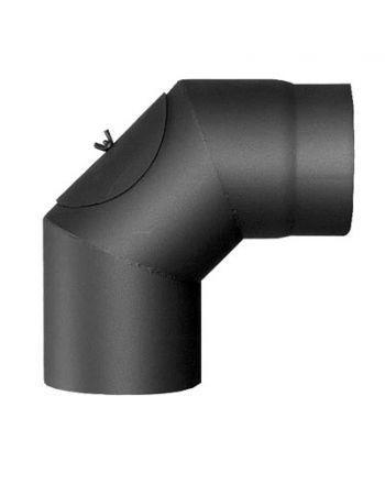 Rauchrohrbogen | 90° FERRO Ø 180 mm mit Reinigungsöffnung - schwarz