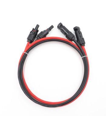 vorgefertigtes MC4 Verlängerungskabel | Rot/Schwarz + Stecker | 2m