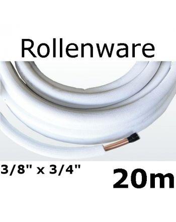 Kältemittelleitung Isoliert Kupferrohr 20 Meter Rolle 3/8 3/4 Zoll