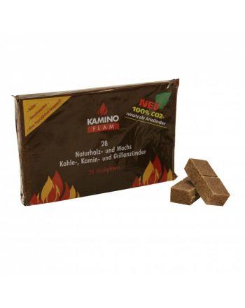 KaminoFlam Naturholz- und Wachs 28 Stk. Kohle-, Kamin- Grillanzünder