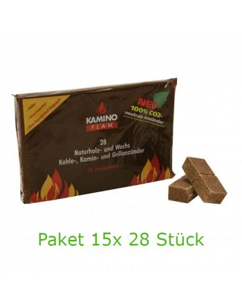 KaminoFlam Naturholz- und Wachs Kohle-, Kamin- Grillanzünder 15x 28Stk