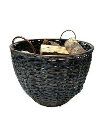 TermaTech | Holzkorb, Kunststoff mit Futter | dunkelbraun