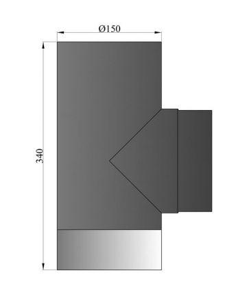Rauchrohr T-Stück mit Deckel Durchmesser 150mm *schwarz*