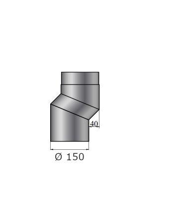 Rauchrohrbogen | S-Versatzbogen 40mm | Durchmesser 150mm | schwarz