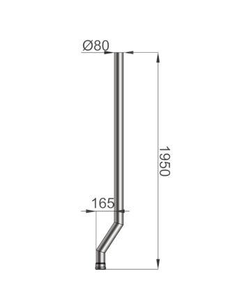 Pelletrohr | S-Versatz-Rohr 165mm | Ø 80mm | schwarz