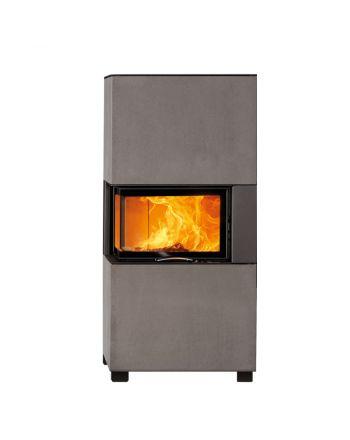 Austroflamm | Designkamin | Sam | Eckscheibe und optionale Anbauboxen | 6,5 kW