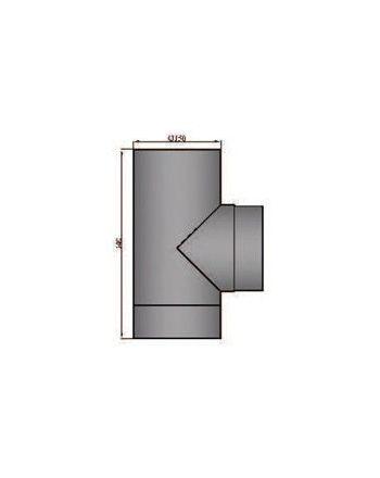 Rauchrohr T-Stück mit Deckel Durchmesser 130mm