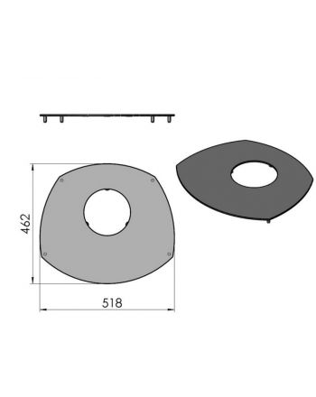 Termatech TT10 Topplatte Stahl dunkel grau