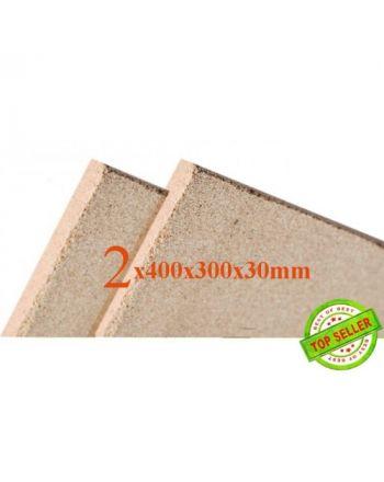 2x Vermiculite Brandschutzplatten | 400x300x30mm | Schamotte Ersatz