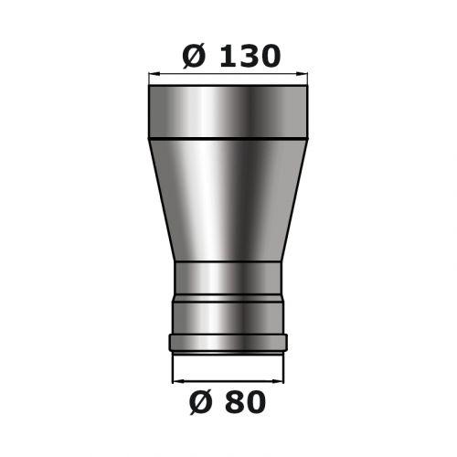 Pelletrohr | Erweiterung | 80/130mm | schwarz