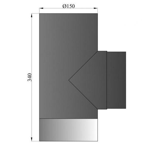 Rauchrohr T-Stück mit Deckel Durchmesser 150mm