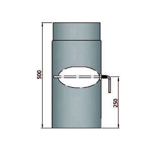 Rauchrohr 500mm mit L Drosselklappe Durchmesser 180mm