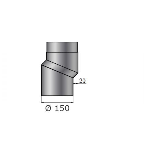Rauchrohrbogen | S-Versatzbogen 20mm | Durchmesser 150mm | schwarz