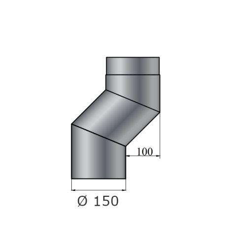 Rauchrohrbogen | S-Versatzbogen 100mm | Durchmesser 150mm | schwarz