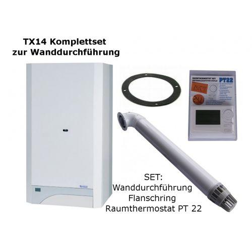 Raumluftunabhängige Gastherme Thermona Therm 14 TX mit 5 - 14 kW WAND-SET