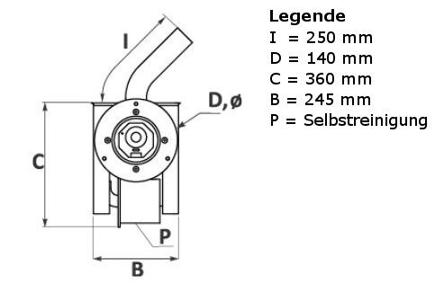 Maße Pelletbrenner BioFlux Front
