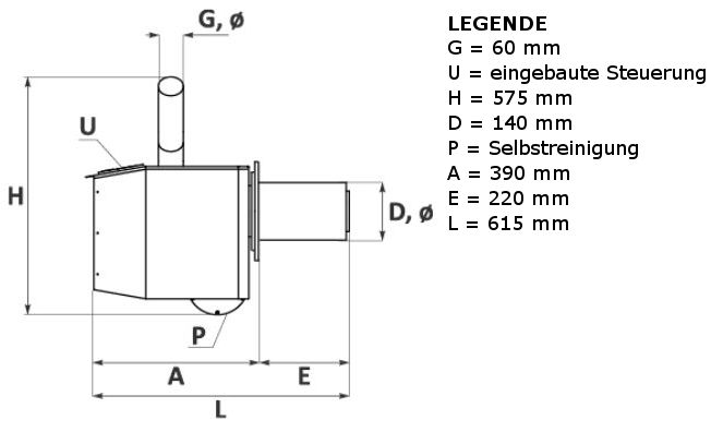 Maße Pelletbrenner BioFlux Seite